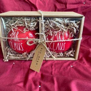 "Rae Dunn red ""Mr Claus & Mrs Claus"" ornaments"